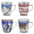Tasse Motiv Wintersport farb. sort.